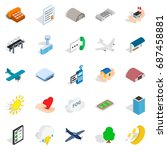 flight icons set. isometric set ... | Shutterstock .eps vector #687458881