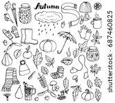 autumn doodle set  vector... | Shutterstock .eps vector #687460825