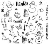 winter doodle set  vector... | Shutterstock .eps vector #687461017