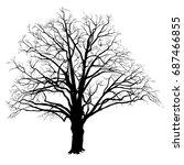silhouette of a tree of an oak  ... | Shutterstock .eps vector #687466855