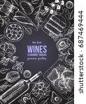 wines and gourmet snacks frame... | Shutterstock .eps vector #687469444