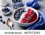 smoothie bowl with fresh... | Shutterstock . vector #687471091