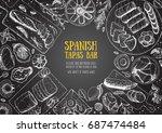 spanish cuisine top view frame. ... | Shutterstock .eps vector #687474484