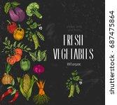 vegetables top view. organic... | Shutterstock .eps vector #687475864