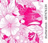 romantic floral decorative... | Shutterstock .eps vector #687476134