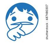 timidly uncertain emoji  unsure ... | Shutterstock .eps vector #687480307