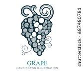 grape vine vector icon  flat...   Shutterstock .eps vector #687480781