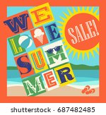 summer sale banner. colorful... | Shutterstock .eps vector #687482485