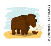 cartoon gigantic mammoth in the ...   Shutterstock .eps vector #687483631