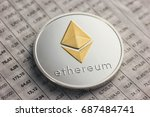 ethereum coin on exchange charts   Shutterstock . vector #687484741
