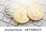 Stock photo cryptocurrency coins litecoin bitcoin ethereum 687488425