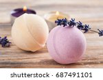spa composition with bath bombs ...   Shutterstock . vector #687491101