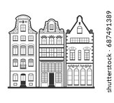 set of 3 amsterdam old houses... | Shutterstock . vector #687491389