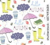 Hello rainy autumn. Hand drawn colored doodle vector seamless pattern