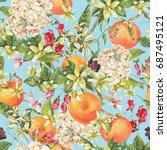 watercolor blooming orange twig ... | Shutterstock . vector #687495121