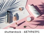 summer yellow cosmetics flat... | Shutterstock . vector #687496591