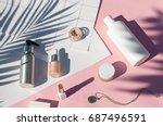 summer pink cosmetics flat lay .... | Shutterstock . vector #687496591