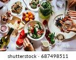 party dinner table  celebrating ... | Shutterstock . vector #687498511