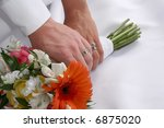 wedding couple holding the... | Shutterstock . vector #6875020