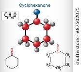 cyclohexanone molecule  ...   Shutterstock .eps vector #687502075