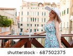 travel tourist woman with... | Shutterstock . vector #687502375