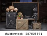 robot about the safe with coin... | Shutterstock . vector #687505591