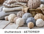 basket with balls of yarn on a... | Shutterstock . vector #687509809