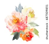 flowers watercolor illustration.... | Shutterstock . vector #687509851