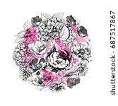 floral botanical circle... | Shutterstock .eps vector #687517867