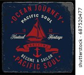 vintage nautical graphics and... | Shutterstock .eps vector #687520477