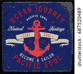 vintage nautical graphics and... | Shutterstock .eps vector #687520489