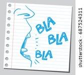 blah blah blah words from mouth | Shutterstock .eps vector #687524311