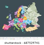 europe map colored by countries ... | Shutterstock .eps vector #687529741