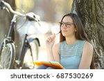 single student thinking and... | Shutterstock . vector #687530269