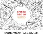 spanish cuisine top view frame. ... | Shutterstock .eps vector #687537031