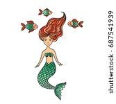 hand drawn cute little mermaid... | Shutterstock .eps vector #687541939