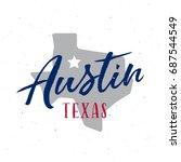 austin texas t shirt design.... | Shutterstock .eps vector #687544549
