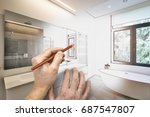 drawing renovation of a luxury... | Shutterstock . vector #687547807