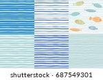 set of six vector hand drawn... | Shutterstock .eps vector #687549301