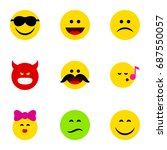 flat icon expression set of... | Shutterstock .eps vector #687550057