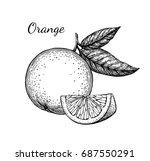 orange set. isolated on white... | Shutterstock .eps vector #687550291