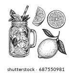 lemon set. isolated on white... | Shutterstock .eps vector #687550981