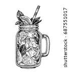 lemonade in mason jar.  retro...   Shutterstock .eps vector #687551017