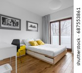 white  multifunctional bedroom...   Shutterstock . vector #687553861