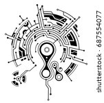 conceptual circuit board tattoo ... | Shutterstock .eps vector #687554077