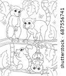 childrens coloring book cartoon ... | Shutterstock .eps vector #687556741