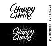 happy hour hand written... | Shutterstock . vector #687556825