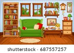 vector cozy living room... | Shutterstock .eps vector #687557257