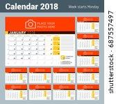 Calendar For 2018 Year. Vector...