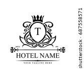 luxury logo template in vector... | Shutterstock .eps vector #687558571